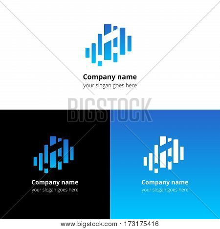 Music note and equalizer beat background flat logo icon vector template. Abstract symbol and button with blue gradient for music service or company.