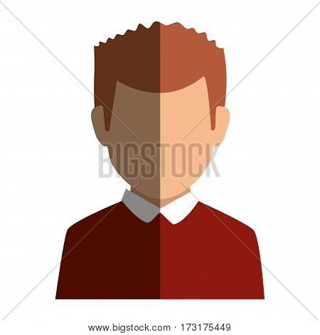 colorful silhouette faceless half body man with t-shirt vector illustration