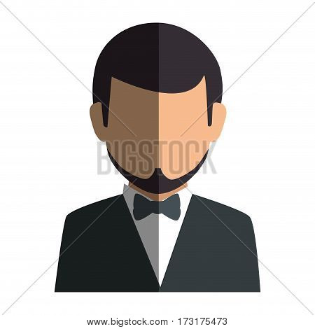 colorful silhouette faceless half body man formal style with bowtie vector illustration