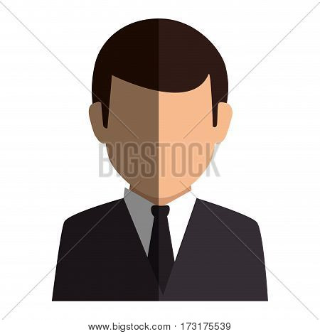 colorful silhouette faceless half body man formal style vector illustration