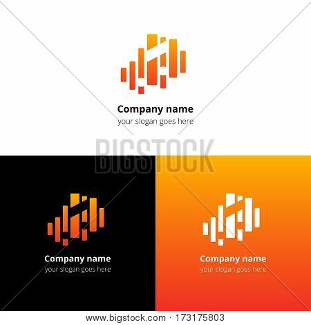 Music note and equalizer beat background flat logo icon vector template. Abstract symbol and button with yellow-orange gradient for music service or company.