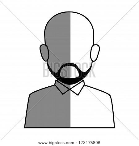 silhouette faceless half body bald man with beard vector illustration