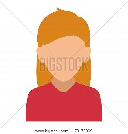colorful silhouette faceless half body woman with long blond hair vector illustration