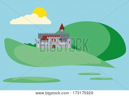 Illustration of a medieval castle. Beautiful landscape with old stronghold. Flat style vector illustration