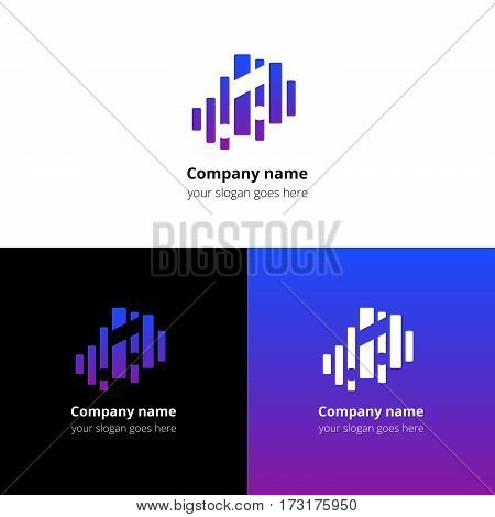 Music note and equalizer beat background flat logo icon vector template. Abstract symbol and button with blue-violet gradient for music service or company.