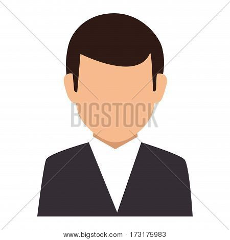 colorful silhouette faceless half body man formal suit vector illustration