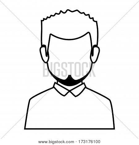 silhouette faceless half body man with beard vector illustration