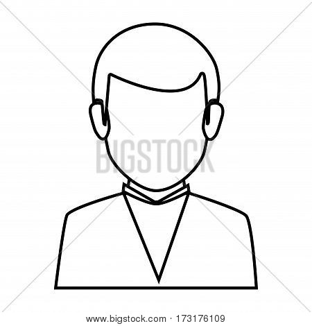 silhouette faceless half body man formal outfit vector illustration