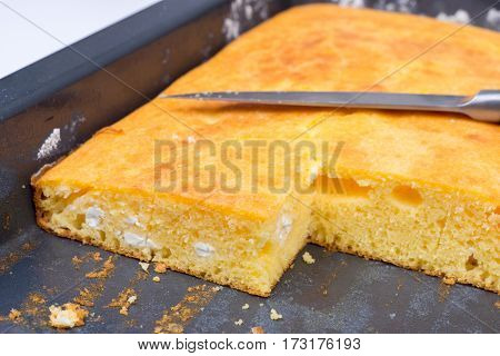 Cornbread Baked And Sliced
