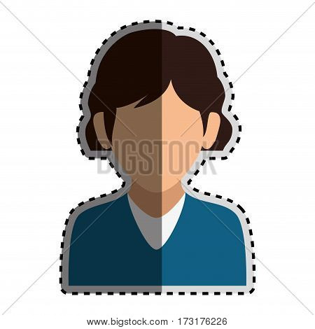 sticker colorful silhouette faceless half body woman with blue t-shirt vector illustration