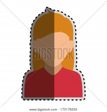 sticker colorful silhouette faceless half body woman with long blond hair vector illustration