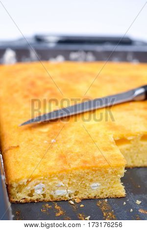 Cornbread Baked In Oven With Cutting Knife