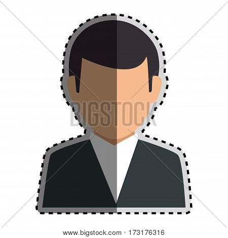 sticker colorful silhouette faceless half body man formal outfit vector illustration