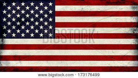 Grunge Vintage United States flag background textured