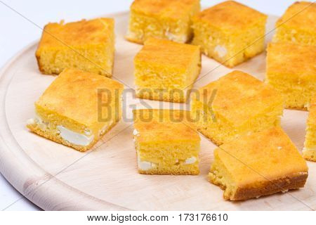 Cornbread Slices On The Wooden Board