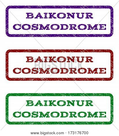 Baikonur Cosmodrome watermark stamp. Text tag inside rounded rectangle with grunge design style. Vector variants are indigo blue red green ink colors. Rubber seal stamp with dust texture.