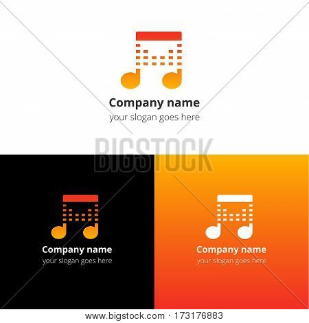 Music note beat yellow-orange gradient and white flat logo template. Vector icon for music company.