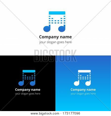 Music note beat blue gradient and white flat logo template. Vector icon for music company.