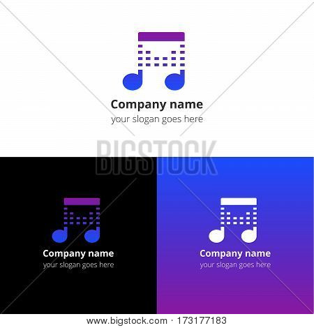 Music note beat blue-violet gradient and white flat logo template. Vector icon for music company.