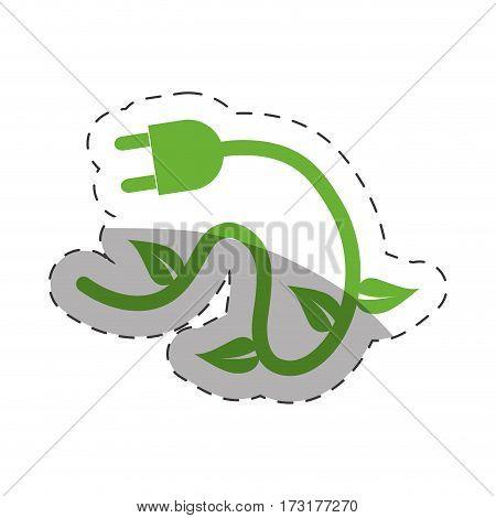 green plug electricity environment cut line vector illustration eps 10