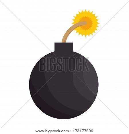 color silhouette with bomb icon vector illustration
