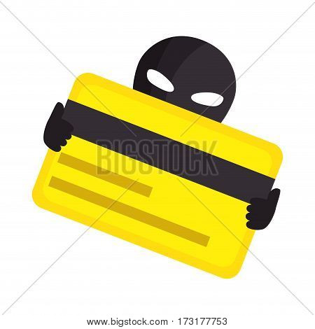 color silhouette with hacker stealing credit card vector illustration