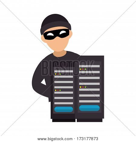 color silhouette with hacker and tower server vector illustration