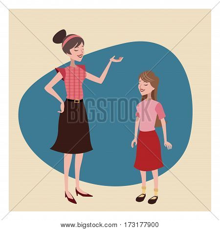 mother and daugther lovely vintage background vector illustration eps 10