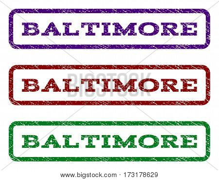 Baltimore watermark stamp. Text tag inside rounded rectangle with grunge design style. Vector variants are indigo blue red green ink colors. Rubber seal stamp with dirty texture.