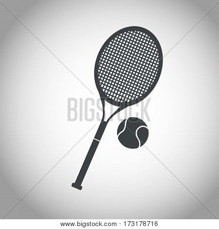 ball and racket tennis black and white vector illustration eps 10
