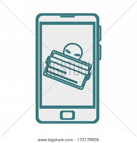 monochrome contour with stealing credit card in cell phone vector illustration