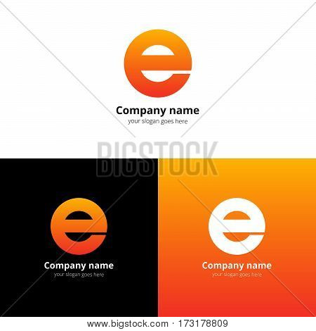 Letter E logo icon flat and vector design alphabet template. Typographic decoration character with trend orange gradient on white and black background. Minimalism creative symbol in vector elements