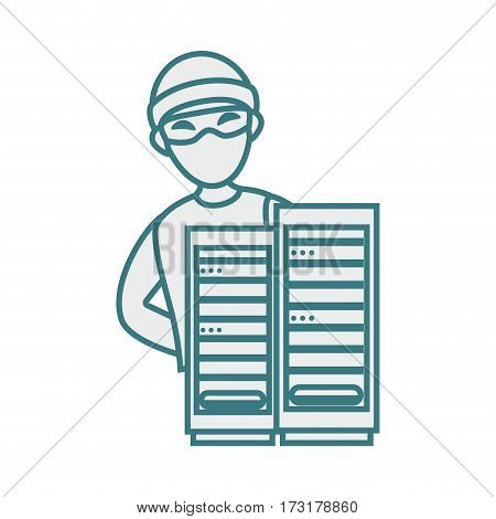 monochrome contour with hacker and tower server vector illustration