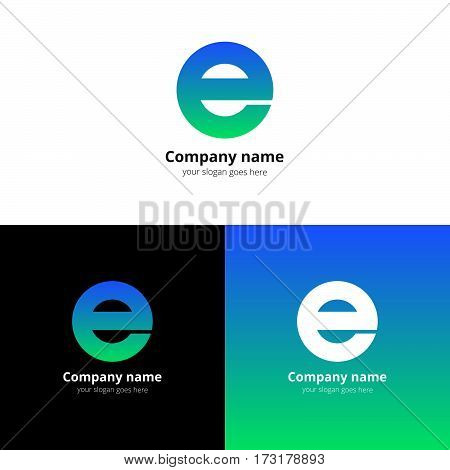 Letter E logo icon flat and stock vector design alphabet template. Typographic decoration character with trend blue-green gradient on white and black background. Minimalism creative symbol in vector.