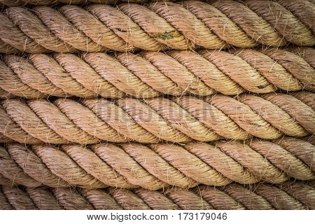 Close up of grunge twisted spiral robe texture for pattern background. Select focus