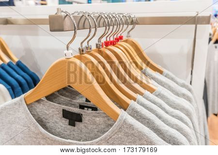 Soft focus and closeup on clothes retail in shop