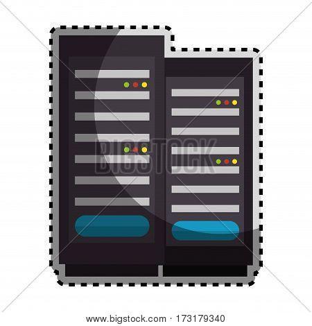 sticker color silhouette with tower server vector illustration