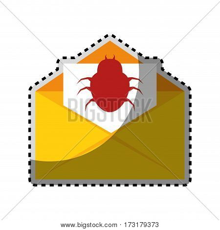 sticker color silhouette with open envelope mail with beetle virus vector illustration
