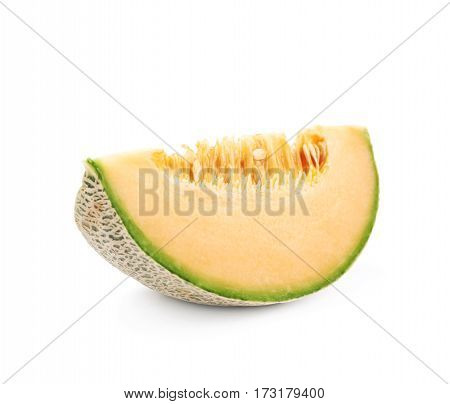 Single slice of a cantaloupe melon isolated over the white background