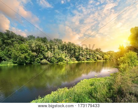 Sun over the Seversky Donets river in Ukraine