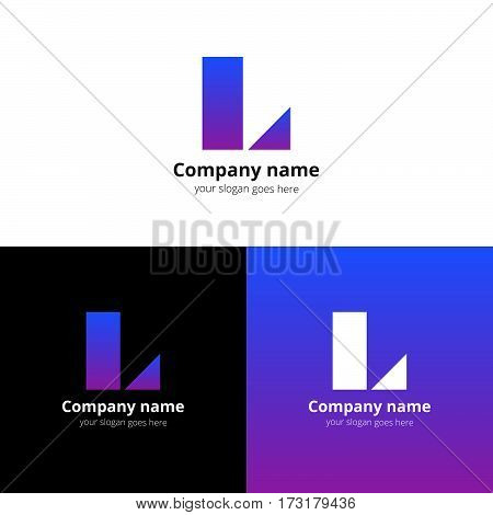 Letter L logo icon flat and vector design template. Decoration with trend violent-pink gradient color on white and black background. Minimalism creative symbol in vector elements.