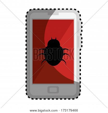 sticker color silhouette with cell phone with virus beetle vector illustration