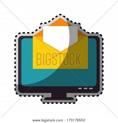 sticker color silhouette with lcd monitor and envelope mail on screen vector illustration