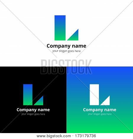 Letter L logo icon flat and stock vector design template. Decoration with trend blue-green gradient color on white and black background. Minimalism creative symbol in vector elements.