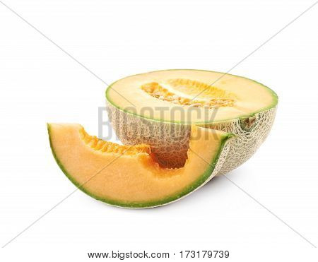 Sliced cantaloupe melon composition isolated over the white background