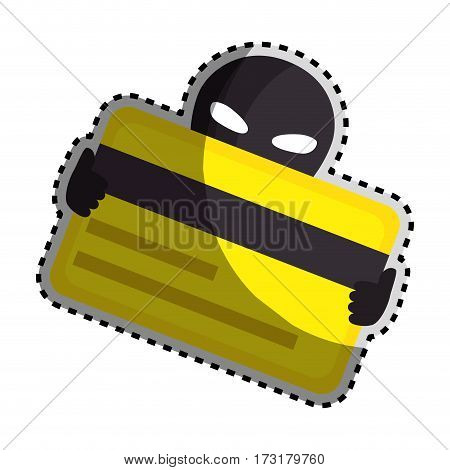 sticker color silhouette with hacker stealing credit card vector illustration