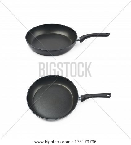 Metal black frying pan with a non-stick coating, composition isolated over the white background, set of two different foreshortenings