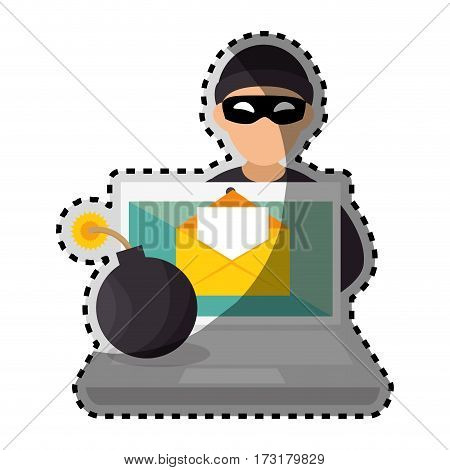 sticker color silhouette with hacker and laptop and bomb vector illustration