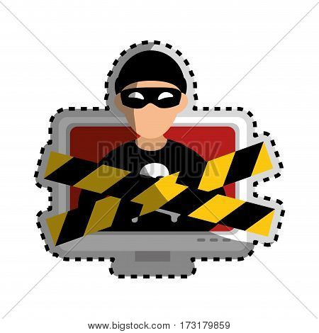 sticker color silhouette with lcd monitor with hacker and warning tape vector illustration