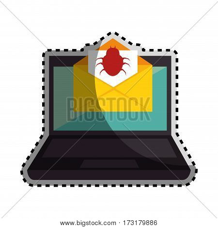 sticker color silhouette with laptop computer and virus mail vector illustration